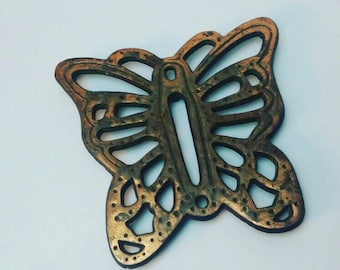 Old Dutch Design Heavy Brass Butterfly Trivet or Wall Hanging Vintage 1980s l Country Kitchen Farmhouse Cottage Chic Decor l Butterfly Lover