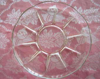 """Vintage Pressed Glass Hors d'oeuvre Plate, 12.5"""" Diameter"""