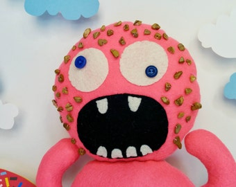 Pink Strawberry Donut Monster Plush - Mr. Berry Nutty, Pink, Nuts, Crazy
