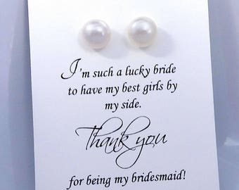 White Freshwater Pearl Stud Earrings, White Stud Earrings, Pearl Stud Earrings, Wedding Earrings, Bridesmaid Gift, Bridesmaid Earrings