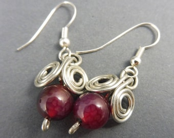 """Aries Earrings with Red Agate - """"Danglies"""""""