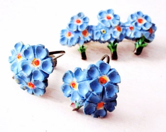 FORGET ME NOT - Vintage Pin Earring Set - Forget Me Not - Flower Pin Earrings - Brooch - Blue - Floral - Etsy - Jewelry - Bouquet - catROCKS