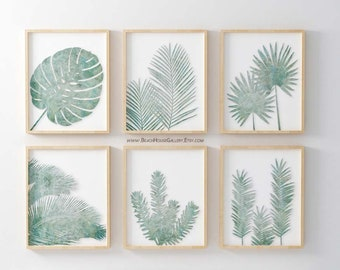 Eucalyptus Palm Prints, Sea Salt Wall Art, Palladian Blue, Sage Green Wall Art, Eucalyptus Botanical Print, Sage Palm Fronds,