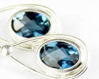 London Blue Topaz, 925 Sterling Silver Leverback Earrings, SE008