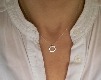 Silver Hexagon Necklace, Silver Geometric Necklace, Geo Jewelry, Hexagon Pendant, Layering Necklace, Sterling Silver, Christmas Gift