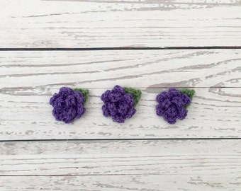 flower motif | purple crochet flowers | crochet rose flower | crochet appliqués | scrapbook flowers