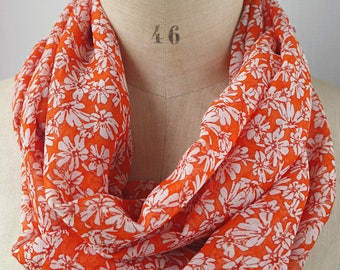 floral scarf, infinity scarf flowers, floral loop scarf, floral cowl, tunnel scarf, womens scarves, gift for her, floral tube scarf, circle