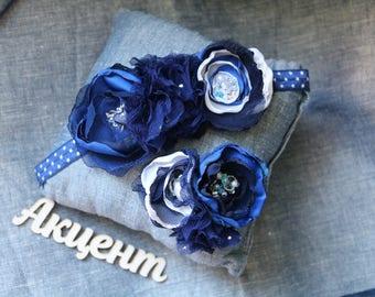 Blue Flower Headband Navy Blue Headband  Flower Blue Navy Baby Bow Headband Baby Blue Headband Blue Infant Headband Chiffon Flower