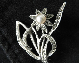 Marcasite and pearl flower brooch