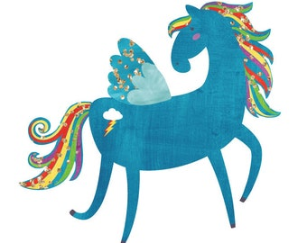 Pony Fabric Wall Decals - Ponies in Watercolor