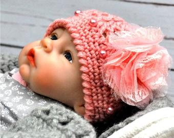 Pink Baby Hat, Crochet Hat, Trendy Baby Girl Hat, Trendy Baby Hat, Trendy Baby Girl, Photo Prop, Baby Hat Girl, Photo Prop Hat, Baby Prop