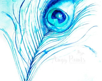 Peacock Feather Art, Original Artwork, Original Watercolor Painting, Peacock Feather Painting, Feather Peacock, Peacock Feather Art