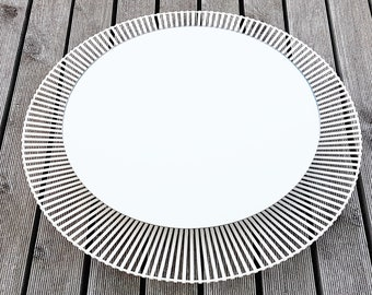 Mirror backlit 1970's vintage white lacquered steel from Zierform Zier Form 70's chic 70's