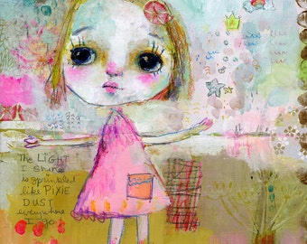 Pixie Dust Light - mixed media art print by Mindy Lacefield