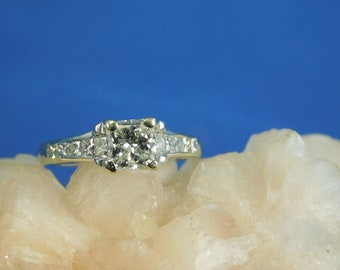 Vintage 0.81 ct. Square Diamond Engagement Ring with Ten Square Diamond Accents 14k White Gold