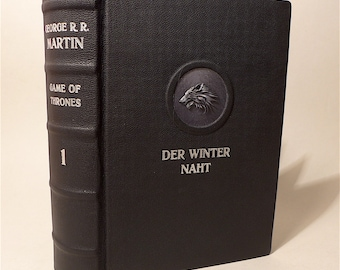 "G.R.R. Martin Game of Thrones 1 book leather cover undivided ""winter seams"""