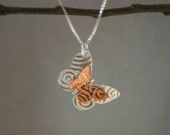 Handmade Butterfly Necklace - Mixed Metals