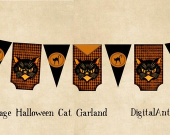 Vintage Halloween Cat Banner Garland Instantl Download