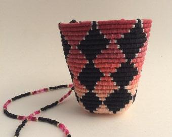 Pink/Black Diamond Ombré Basket Necklace