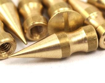 Screwback cone spike 5 pcs raw brass spike (7x24 mm) with brass bolt