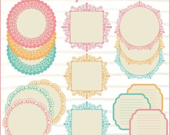 50%OFF Vintage lace labels, doily clip art, printable labels, frames clip art, candy buffet label, wedding labels, table numbers, gift tags,