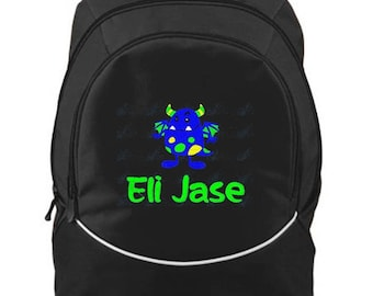FREE SHIPPIN- Cute Monster Personalized Monogrammed Backpack Book Bag school tote - NEW