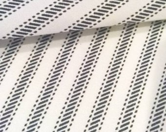 Navy Ticking Stripe Fabric by the Yard Designer Cotton Ticking Home Decor Fabric Drapery Curtain or Upholstery Fabric Blue Ticking C343