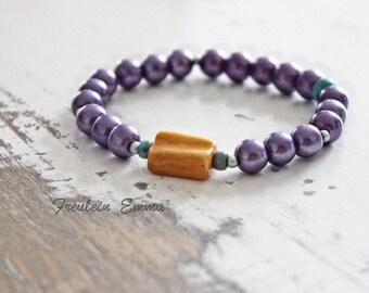 Bracelet RAINBOW violet stretch boho mother-of-Pearl honey layering Bohemian hippie