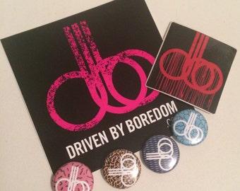 Driven By Boredom Stickers & Button