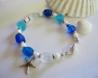 Blue Sea Glass Bracelet,White Beads, Chunky Glass, Beach Jewelry, Sea Glass Jewelry, Starfish Bracelet, Frosted Glass, Beaded Jewelry