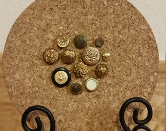 12 Decorative Gold Vintage Button Push Pin Tacks (Black and White Accents)