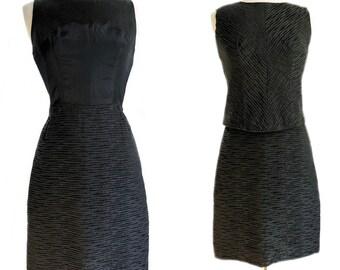 Vintage 50s black wiggle dress set with top/ Don Sophisticates/ LBD/ 1950s little black dress/ raised fabric/ Mad Men XS cocktail dress