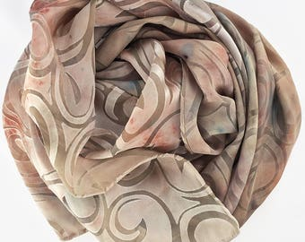 Silk Cut Devore Satin Scarf, Hand-dyed, Plant-dyed with Red Earth and Delphinium