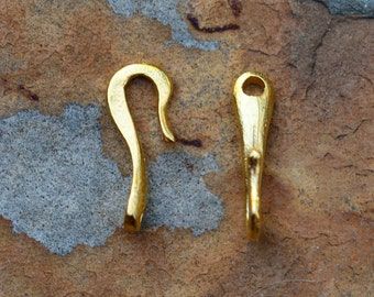 4 Rustic Clasp Shepherds Hook - Gold