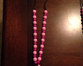 Light Pink & Fuchia with Pink Drop Pendant Teethinf Necklace