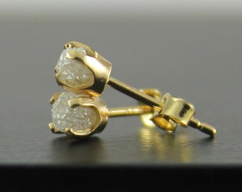 RESERVED - 14K Yellow Gold Post Earrings - White Raw Rough Diamonds - Natural Uncut Stones Diamonds - Gold Ear Studs