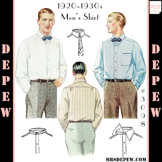 Men's Vintage Reproduction Sewing Patterns  1920s 1930s Mens Shirt with Collar Options #3098 -INSTANT DOWNLOAD-Menswear Vintage Sewing Pattern 1920s 1930s Mens Shirt with Collar Options #3098 -INSTANT DOWNLOAD- $8.50 AT vintagedancer.com