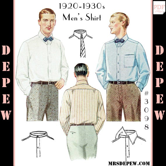 Men's Vintage Reproduction Sewing Patterns Menswear Vintage Sewing Pattern 1920s 1930s Mens Shirt with Collar Options #3098 -INSTANT DOWNLOAD- $8.50 AT vintagedancer.com