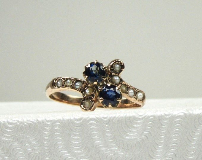 Victorian Blue Sapphire and Seed Pearl Ring; Victorian Sapphire Ring; Birthstone Ring; September Birthstone Ring; Sapphire and Pearl Ring