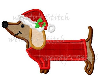 Christmas dachshund dog applique machine embroidery design