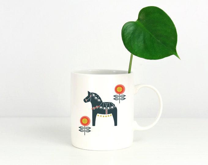 Navy and Orange Floral Dala Horse Mug