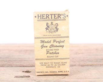 Vintage Herter's Model Perfect 22 25 Caliber Gun Cleaning Patches / Hunting Room Decor / Camping Decorations / Fishing Decor / Outdoor Decor