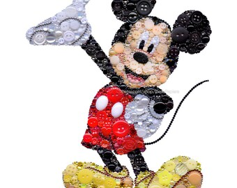 Mickey Mouse Art Button Art 8x10 Mickey Mouse Swarovski Mickey Mouse Mickey Wall Hanging Mickey Mouse Collectibles Mickey Mouse Paintings