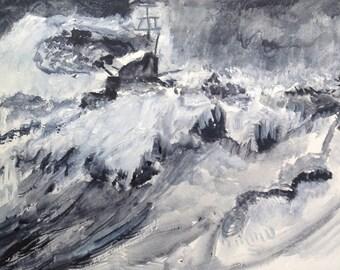 Battleship in rough sea