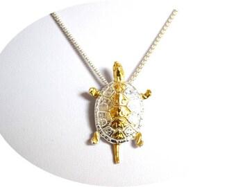 Gold Turtle Necklace - Fine Silver Jewelry - Turtle Pendant Necklace - 24k Gold - Turtle Jewelry - Charm Necklace - Fine Jewelry - Gift Idea