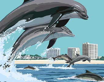 Jacksonville Beach, Florida - Jumping Dolphins (Art Prints available in multiple sizes)
