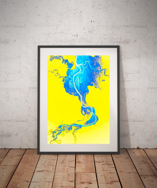 Blue Smoke Yellow Background yellow blue abstract prints