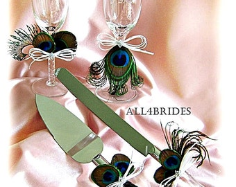 Peacock Wedding champagne glasses and cake cutting set, peacock feather weddings decorations.