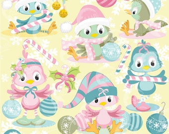 Christmas Shabby Chic Bird Clipart, Christmas Birds clipart, Christmas Decorations, Commercial License, AMB-568