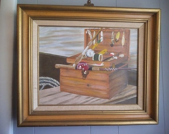 SALE vintage Signed Framed Painting ~ Wooden tackle Box with Fishing lure ~ Pole ~ Nautical ~ Man cave